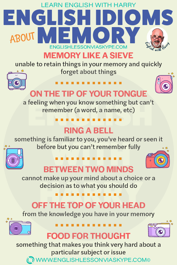 10 English idioms about memory and mind. Memory like a sieve meaning. Improve speaking skills at www.englishlessonviaskype.com #learnenglish #englishlessons #tienganh #EnglishTeacher #vocabulary #ingles #อังกฤษ #английский #aprenderingles #english #cursodeingles #учианглийский #vocabulário #dicasdeingles #learningenglish #ingilizce #englishgrammar #englishvocabulary #ielts #idiomas