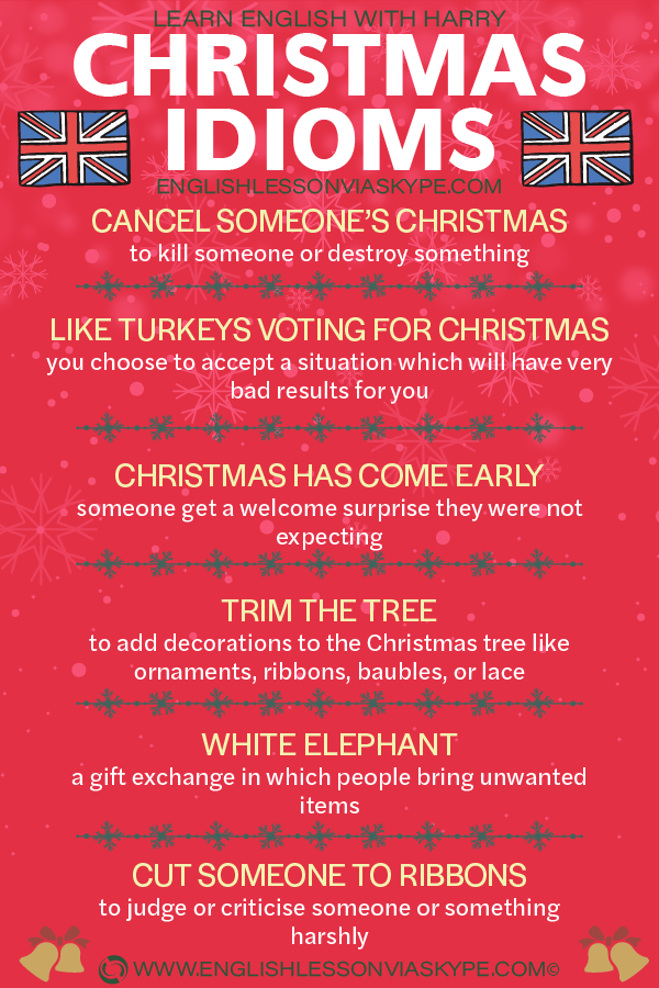 11 Christmas English Idioms with meanings and examples. Learn English with Harry at www.englishlessonviaskype.com #learnenglish #englishlessons #tienganh #EnglishTeacher #vocabulary #ingles #อังกฤษ #английский #aprenderingles #english #cursodeingles #учианглийский #vocabulário #dicasdeingles #learningenglish #ingilizce #englishgrammar #englishvocabulary #ielts #idiomas