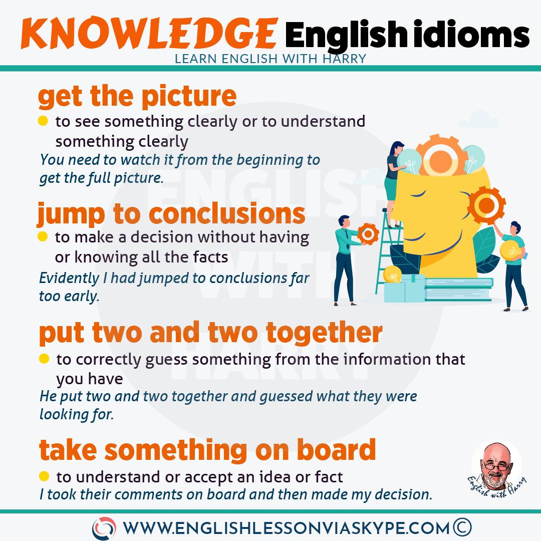 English Idioms about Knowledge. Intermediate level English. Effortless English learning. #impara #Αγγλικά #английскийязык #الإنجليزية #educación #LearnEnglish #Englishteacher #AprenderIngles #idioms #ingles
