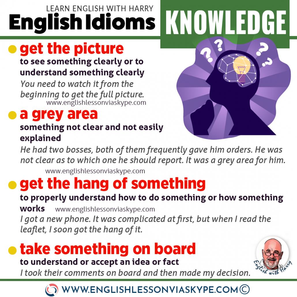 10 English Idioms about Knowledge. Intermediate level English. Effortless English learning. #impara #Αγγλικά #английскийязык #الإنجليزية #educación #LearnEnglish #Englishteacher #AprenderIngles #idioms #ingles