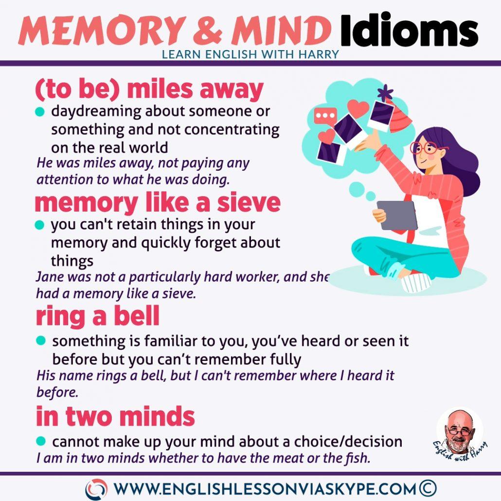 12 English Idioms related to Memory and Mind. English idioms in context at www.englishlessonviaskype.com #learnenglish #englishlessons #tienganh #EnglishTeacher #vocabulary #ingles #อังกฤษ #английский #aprenderingles #english #cursodeingles #учианглийский #vocabulário #dicasdeingles #learningenglish #ingilizce #englishgrammar #englishvocabulary #ielts #idiomas