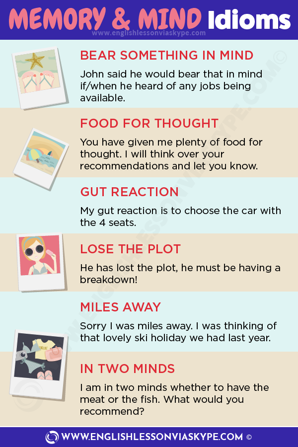 7 English Idioms related to Memory and Mind. English idioms in context at www.englishlessonviaskype.com #learnenglish #englishlessons #tienganh #EnglishTeacher #vocabulary #ingles #อังกฤษ #английский #aprenderingles #english #cursodeingles #учианглийский #vocabulário #dicasdeingles #learningenglish #ingilizce #englishgrammar #englishvocabulary #ielts #idiomas