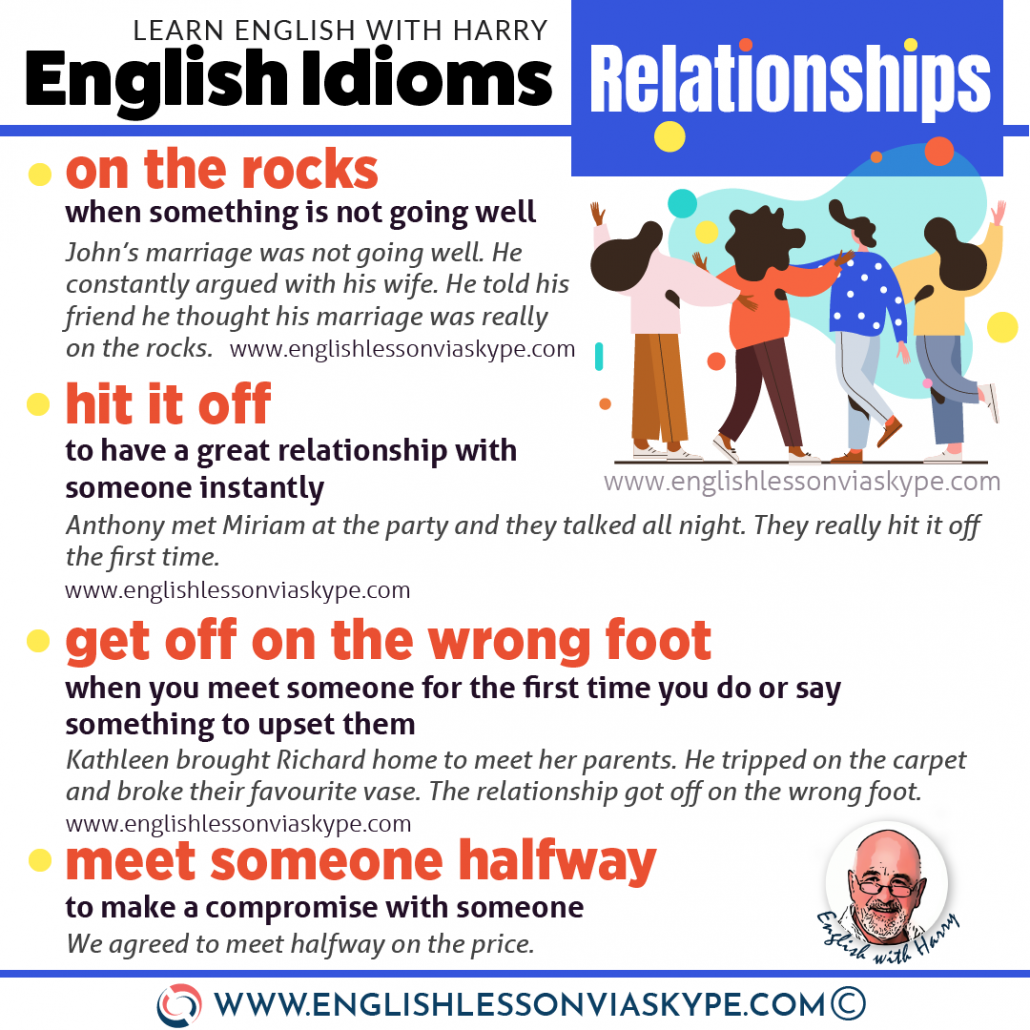 12 English idioms about relationships. Advanced English learning. Get off on the wrong foot, hit it off meaning, on the rocks www.englishlessonviaskype.com #learnenglish #englishlessons #английский #angielski #nauka #ingles #Idiomas #idioms #English #englishteacher #ielts #toefl #vocabulary #ingilizce #inglese #ielts