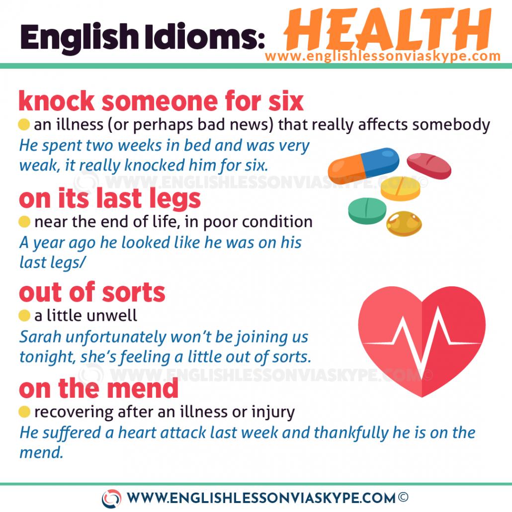 10 English Idioms about Health. Knock someone for six meaning. Under the weather meaning. www.englishlessonviaskype.com #learnenglish #englishlessons #английский #angielski #nauka #ingles #Idiomas #idioms #English #englishteacher #ielts #toefl #vocabulary #ingilizce #inglese