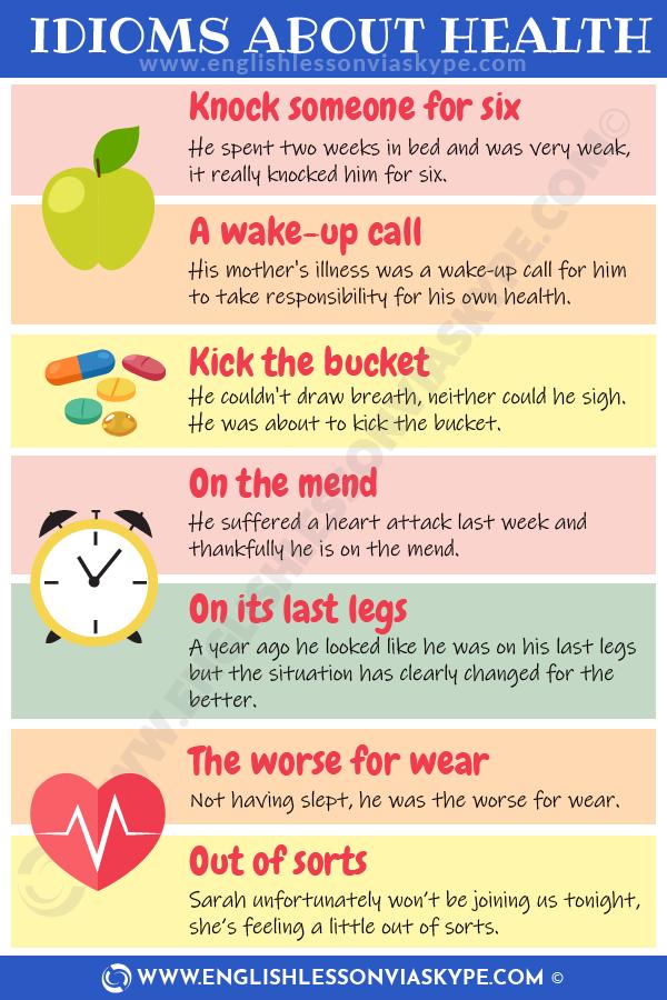 English Idioms about Health and Illness. Learn English idioms in context. Intermediate level English lessons. www.englishlessonviaskype.com #learnenglish #englishlessons #englishteacher #ingles #aprenderingles #nuevo #ielts #toefl #englishlanguage