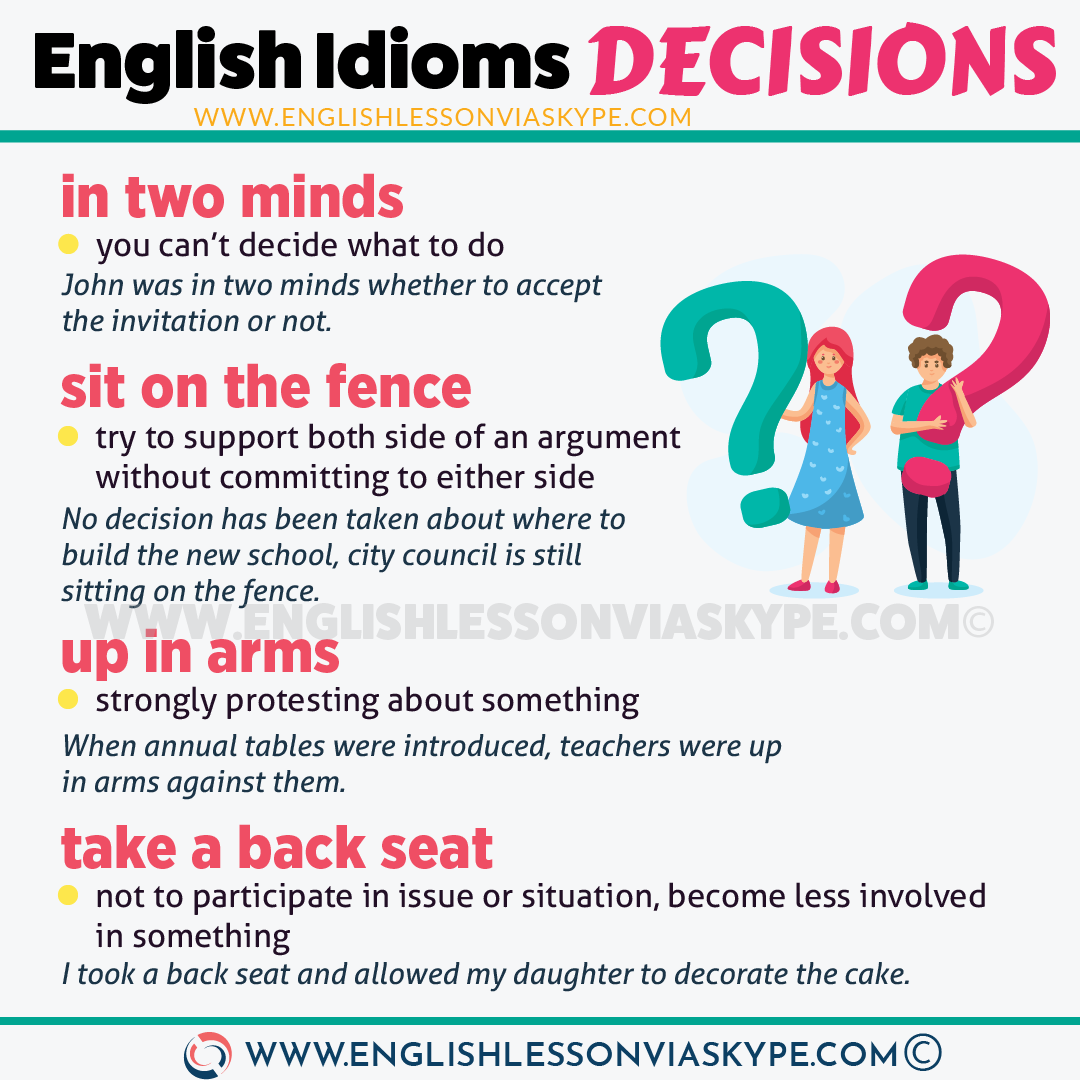 English Idioms about Decisions. Intermediate level English vocabulary and idioms. Advanced English. Effortless English idioms. #learnenglish #englishlessons #englishteacher #englishidioms #idioms #ingles #aprenderingles