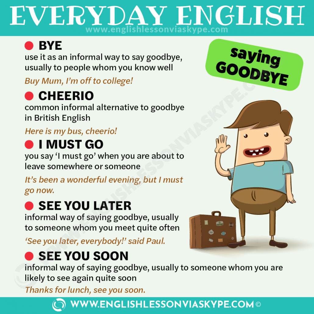 How to say goodbye in English. English greetings and goodbyes. Formal and informal ways of greeting people in English. #learnenglish #englishlessons #vocabulary #englishteacher #vocabulary #hoctienganh #ingles #อังกฤษ #английский #英语 #영어