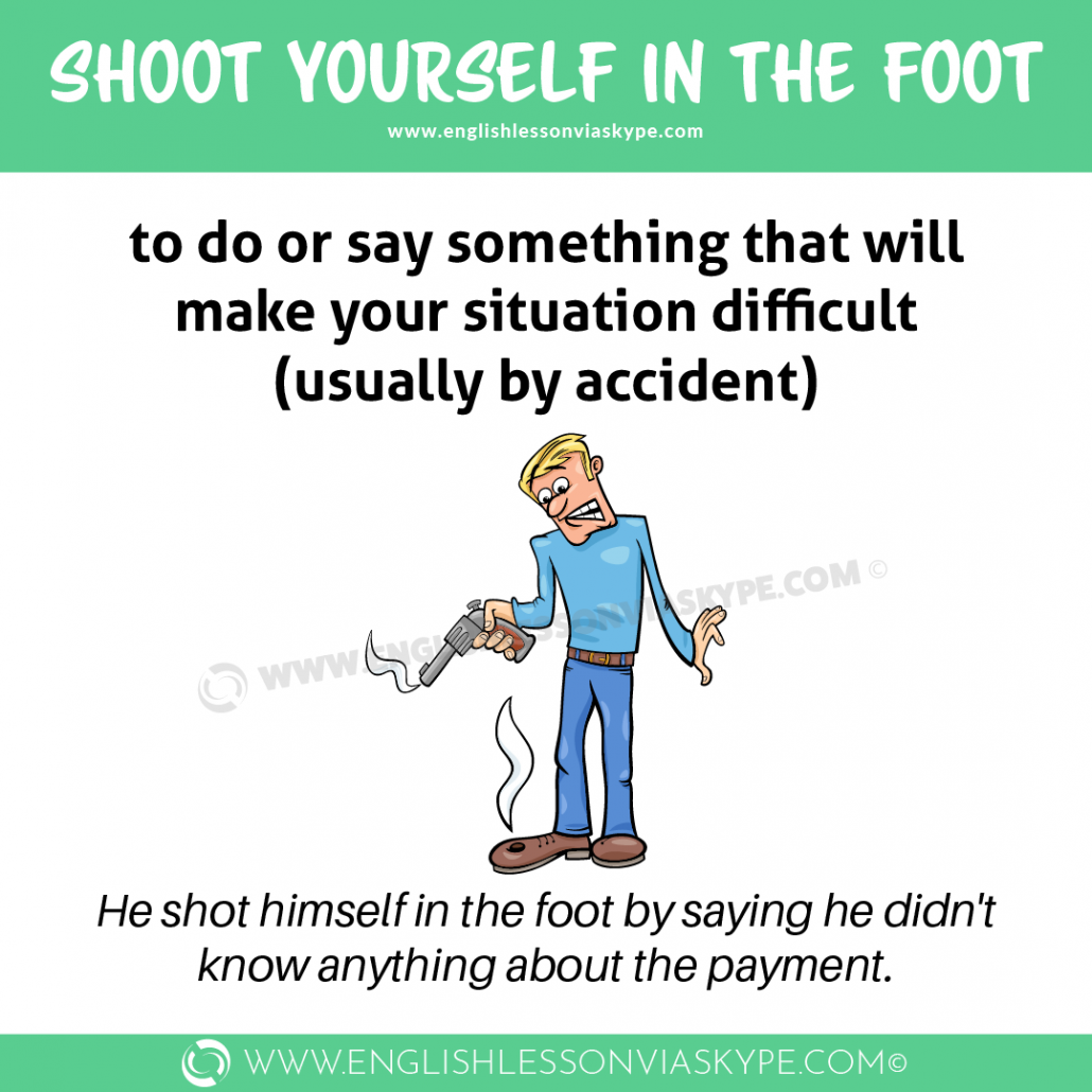 Shoot yourself in the foot idiom meaning. Business English idioms. English idioms in context. Intermediate level English/ #idioms #learnenglish #englishlessons #englishteacher #vocabulary #hoctienganh #ingles #อังกฤษ #английский #英语 #영어