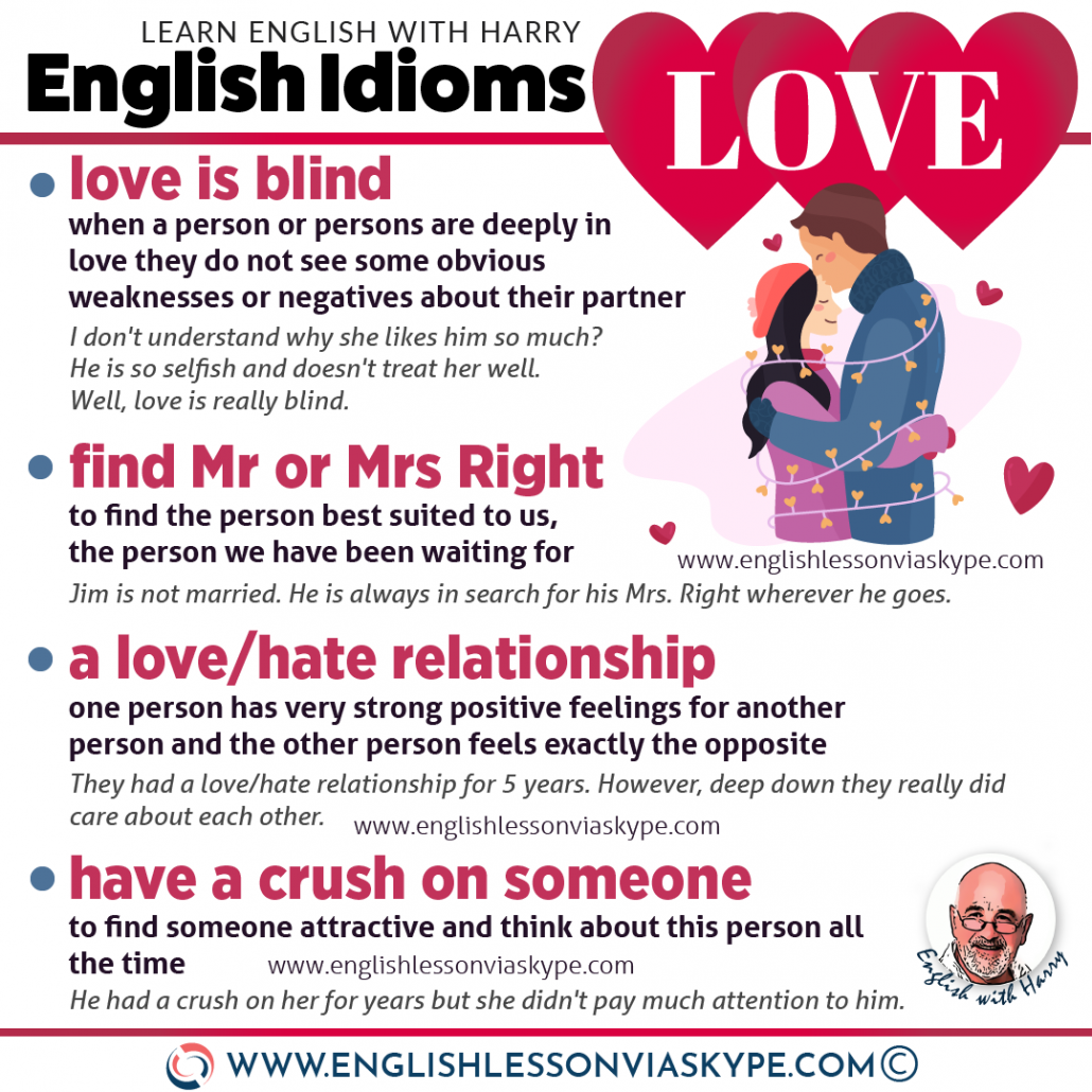 12 English Love Idioms and Phrases. Advanced English learning. How to talk about love in English. #learnenglish #ingles #idioms #vocabulary #love #valentinesday