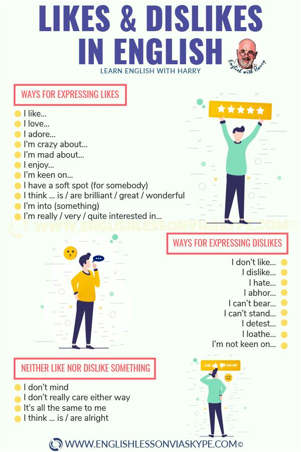 Expressing likes and dislikes in English. Everyday English expressions. Improve English speaking skills. www.englishlessonviaskype.com #learnenglish #englishlessons #englishteacher #ingles #aprenderingles #nuevo #ielts #toefl #englishlanguage