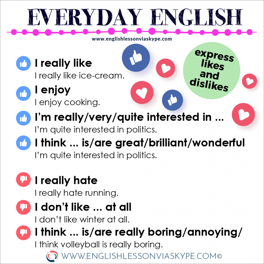 Expressing likes and dislikes in English. Everyday English expressions. Improve English speaking skills. www.englishlessonviaskype.com #learnenglish #englishlessons #englishteacher #ingles #aprenderingles #nuevo #ielts #toefl #englishlanguage
