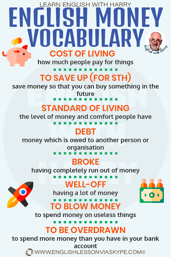 English money vocabulary. Usefull words and phrases to help you talk about money in English. www.englishlessonviaskype.com #learnenglish #englishlessons #tienganh #EnglishTeacher #vocabulary #ingles #อังกฤษ #английский #aprenderingles #english #cursodeingles #учианглийский #vocabulário #dicasdeingles #learningenglish #ingilizce #englishgrammar #englishvocabulary #ielts #idiomas