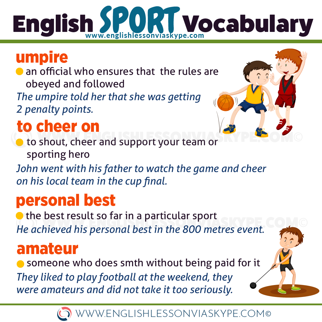 IELTS Sports vocabulary. English words and expressions to talk about sports. www.englishlessonviaskype.com #learnenglish #englishlessons #tienganh #EnglishTeacher #vocabulary #ingles #อังกฤษ #английский #aprenderingles #english #cursodeingles #учианглийский