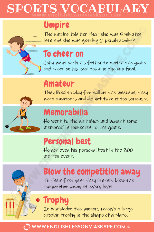 IELTS Sports Vocabulary Words. Achieve high score in IELTS. www.englishlessonviaskype.com #learnenglish #englishlessons #englishteacher #ingles #aprenderingles #английский #vocabulary #toefl #ielts