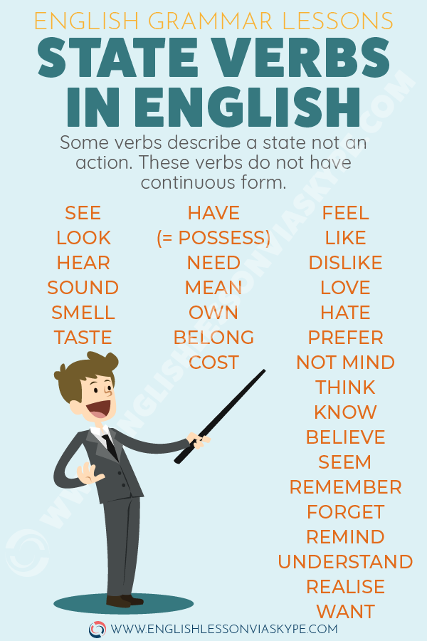 List of state verbs in English wth examples. State verbs generally fall into 4 groups: Emotion: love, hate, want, need. www.englishlessonviaskype.com #learnenglish #englishlessons #englishteacher #ingles