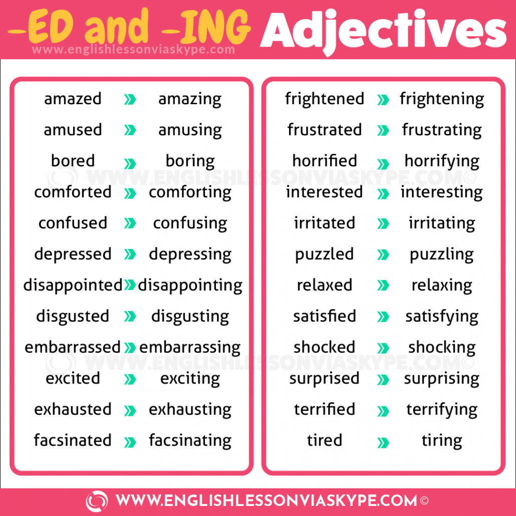 English Adjectives ending in ED and ING. English grammar rules. Intermediate level English. #englishteacher #learnenglish #englishlessons #ingles #อังกฤษ #английский #英语 #영어