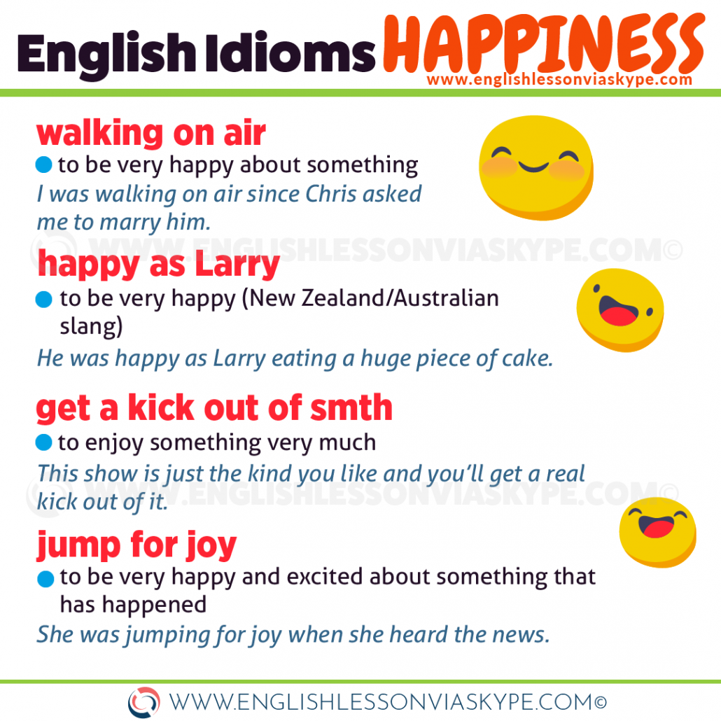 English Idioms about Happiness and Sadness. Learn idioms in context at www.englishlessonviaskype.com #learnenglish #englishlessons #tienganh #EnglishTeacher #vocabulary #ingles #อังกฤษ #английский #aprenderingles #english #cursodeingles #учианглийский #vocabulário #dicasdeingles #learningenglish #ingilizce #englishgrammar #englishvocabulary #ielts #idiomas