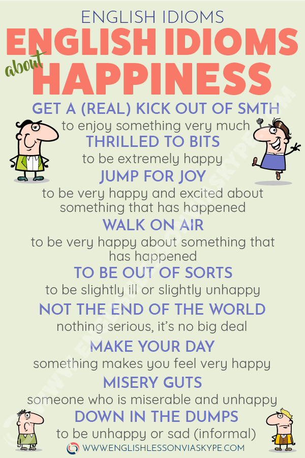 12 English Idioms about Happiness and Sadness. Learn idioms in context at www.englishlessonviaskype.com #learnenglish #englishlessons #tienganh #EnglishTeacher #vocabulary #ingles #อังกฤษ #английский #aprenderingles #english #cursodeingles #учианглийский #vocabulário #dicasdeingles #learningenglish #ingilizce #englishgrammar #englishvocabulary #ielts #idiomas