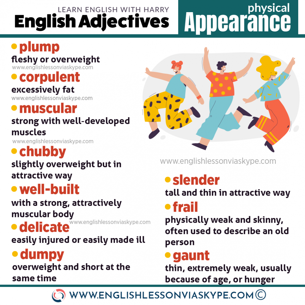 English adjectives to describe physical appearance. www.englishlessonviaskype.com #learnenglish #englishlessons #EnglishTeacher #vocabulary #ingles #английский #aprenderingles #english #cursodeingles #учианглийский #vocabulário #dicasdeingles #learningenglish #ingilizce #englishgrammar #englishvocabulary #ielts #idiomas