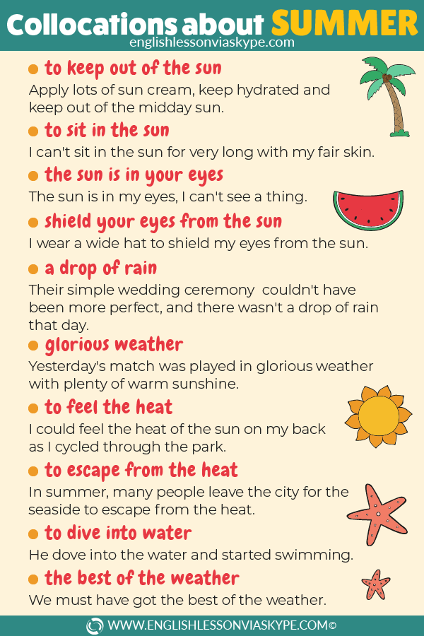English Collocations about Summer. How to talk about summer in English. Useful phrases. www.englishlessonviaskype.com #learnenglish #englishlessons #tienganh #EnglishTeacher #vocabulary #ingles #อังกฤษ #английский #aprenderingles #english #cursodeingles #учианглийский #vocabulário #dicasdeingles #learningenglish #ingilizce #englishgrammar #englishvocabulary #ielts #idiomas