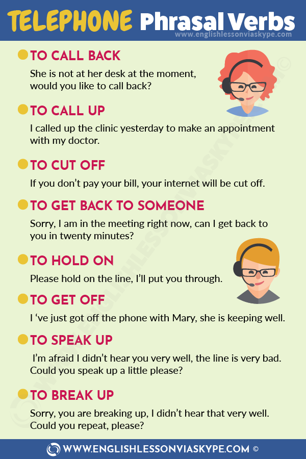 List of English Telephone Phrasal Verbs - English Lesson via Skype