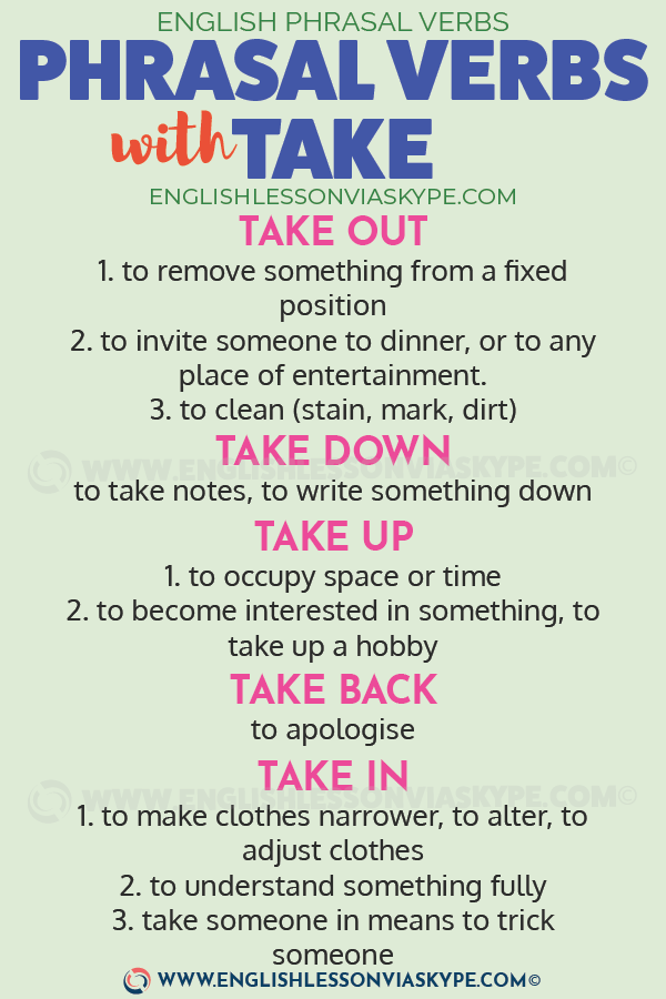 13 Phrasal Verbs with Take. Take apart, take for, take in, take up www.englishlessonviaskype.com #learnenglish #englishlessons #английский #angielski #nauka #ingles #Idiomas #idioms #English #englishteacher #ielts #toefl #vocabulary #ingilizce #inglese