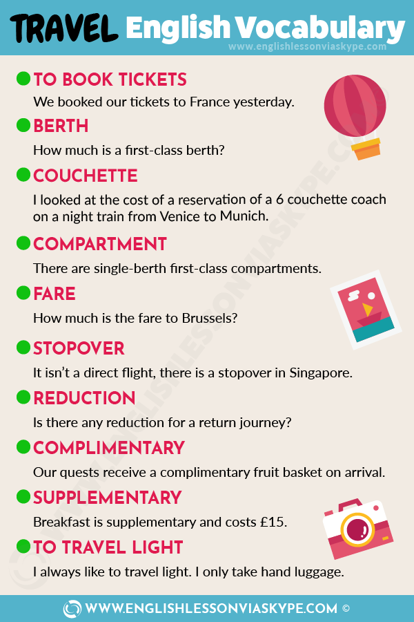 Short English Travel Vocabulary - English Words and ...