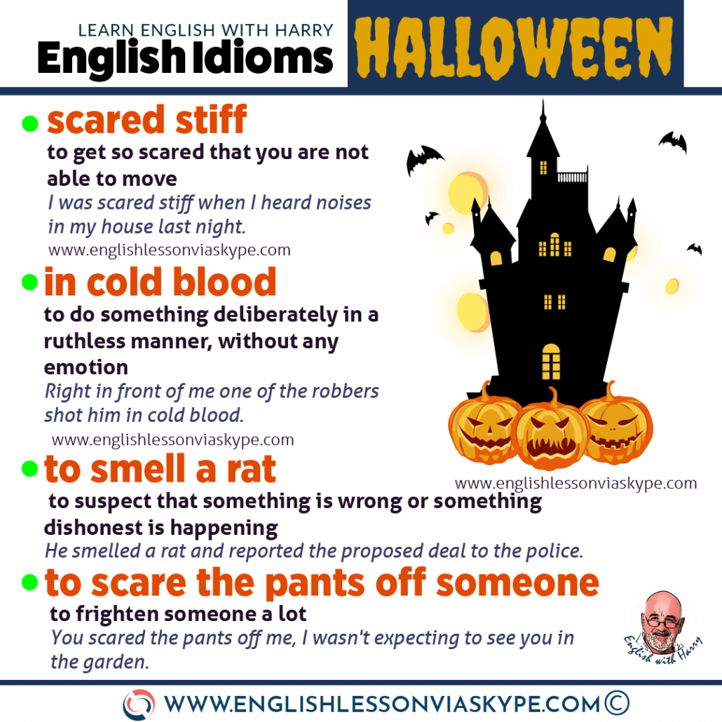 10 Halloween Idioms and Expressions in English. Improve English speaking. Boost your vocabulary. From intermediate to advanced English with www.englishlessonviaskype.com #learnenglish #englishlessons #EnglishTeacher #vocabulary #ingles #английский #aprenderingles #english #cursodeingles #учианглийский #vocabulário #dicasdeingles #learningenglish #ingilizce #englishgrammar #englishvocabulary #ielts #idiomas