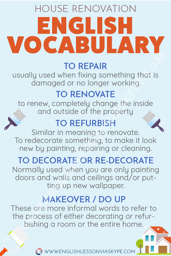 English Vocabulary Words to talk about Renovation. Intermediate level English vocabulary words. #learnenglish #englishlessons #englishteacher #ingles #aprenderingles #englishvocabulary