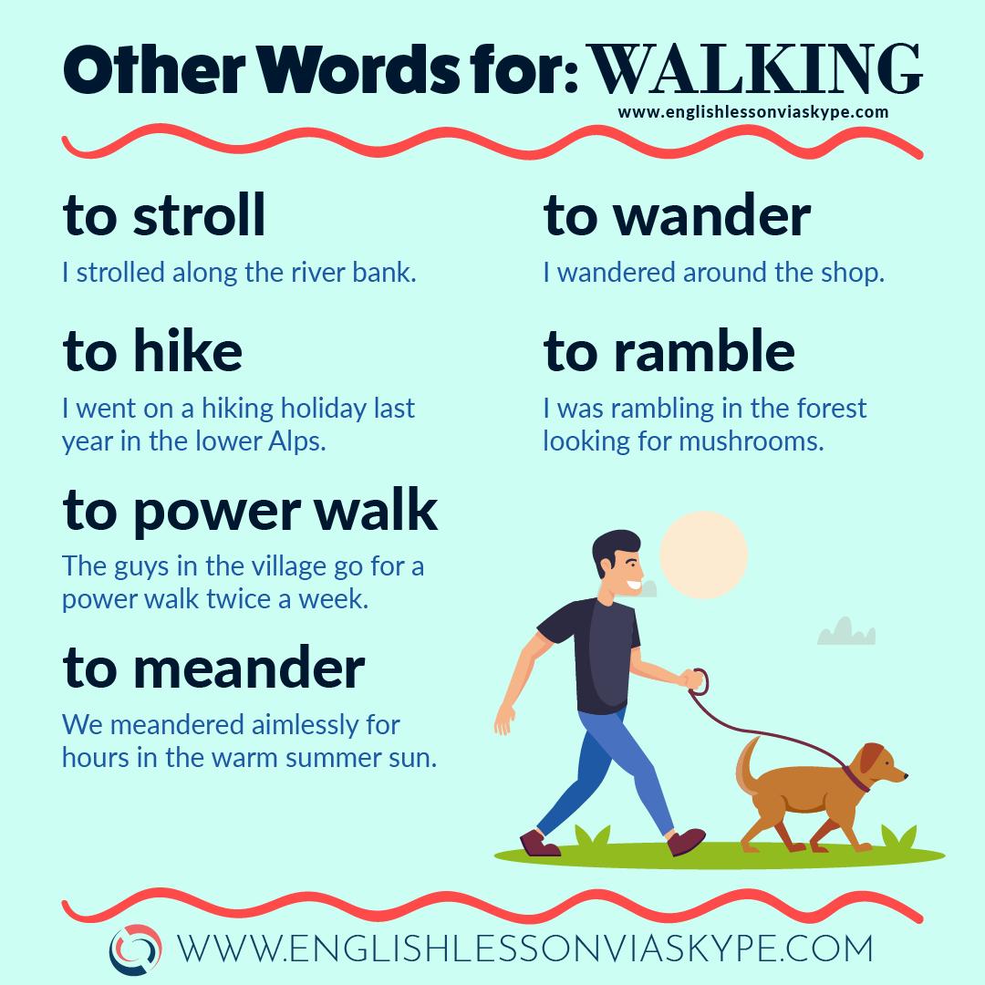 Other words for Walking in English. Improve your English vocabulary. www.englishlessonviaskype.com #learnenglish #englishlessons #englishteacher #ielts #toefl #englishteacher #vocabulary #hoctienganh #ingles #английский #ingilizce