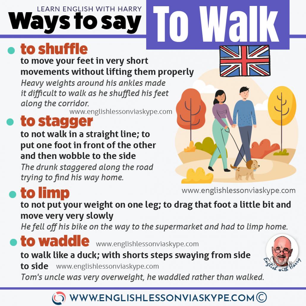10 Other words for walking. Describe walking in English. Advanced English vocabulary. www.englishlessonviaskype.com #learnenglish #englishlessons #EnglishTeacher #vocabulary #ingles #อังกฤษ #английский #aprenderingles #english #cursodeingles #учианглийский #vocabulário #dicasdeingles #learningenglish #ingilizce #englishgrammar #englishvocabulary #ielts #idiomas