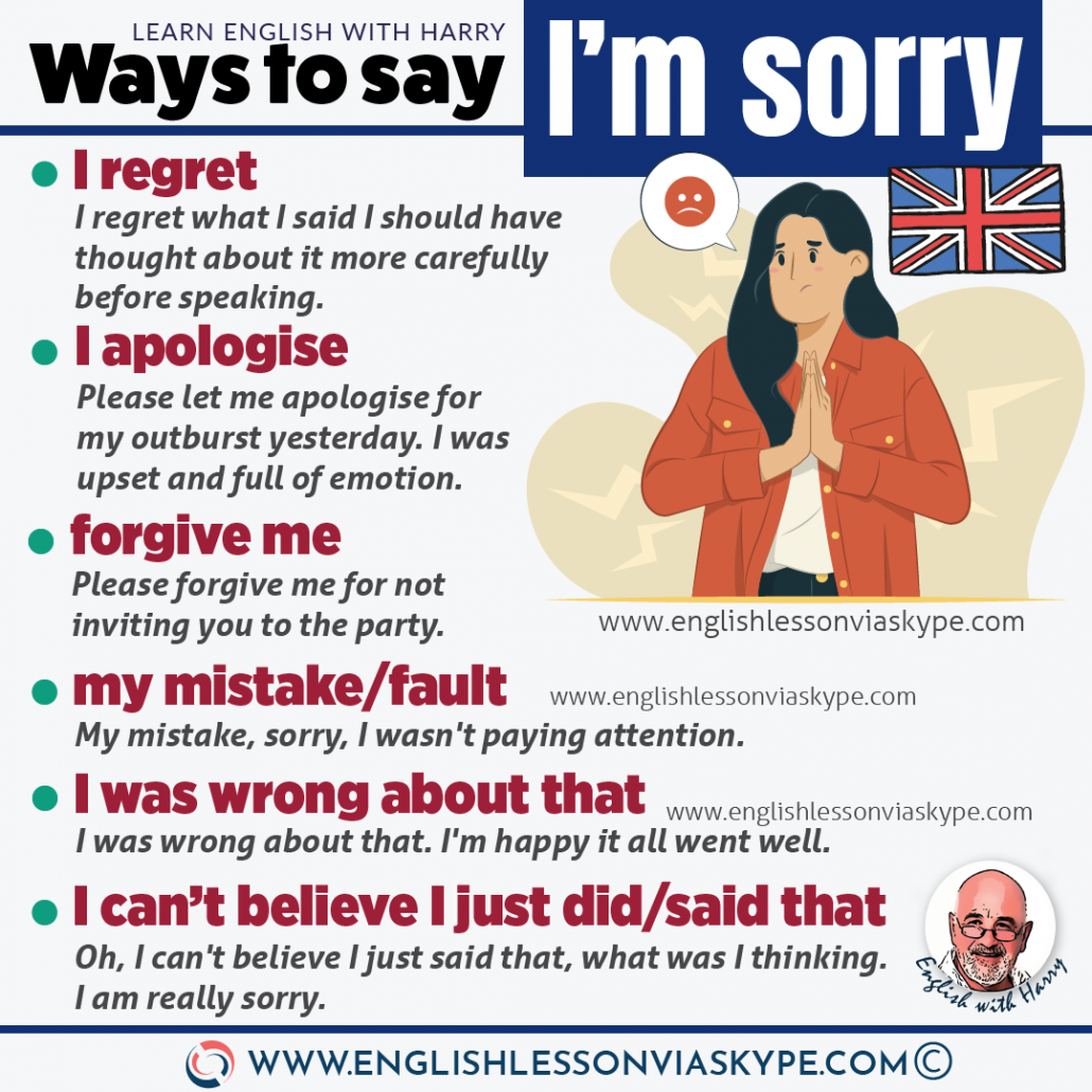 Different ways to say sorry in English. How to say sorry in advanced English? Study advanced English at www.englishlessonviaskype.com #learnenglish #englishlessons #EnglishTeacher #vocabulary #ingles #อังกฤษ #английский #aprenderingles #english #cursodeingles #учианглийский #vocabulário #dicasdeingles
