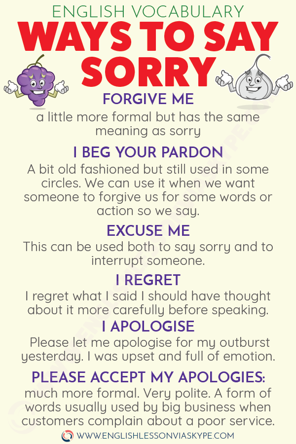 Different ways to say sorry in English. Ways to apologise in English. Formal and informal English expressions. #learnenglish #englishlessons #englishteacher #ingles #aprenderingles #vocabulary