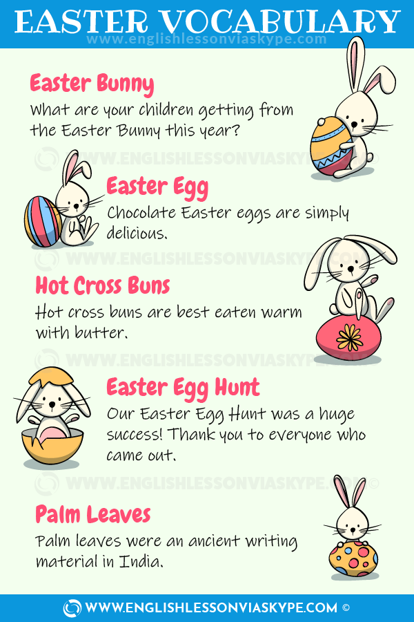 English vocabulary about Easter. Learn new vocabulary words and phrases connected with Easter. www.englishlessonviaskype.com #LearnEnglish #FelizLunes #Idiomas #idioms #English #englishteacher #vocabulary #hoctienganh #ingles #английский #ingilizce