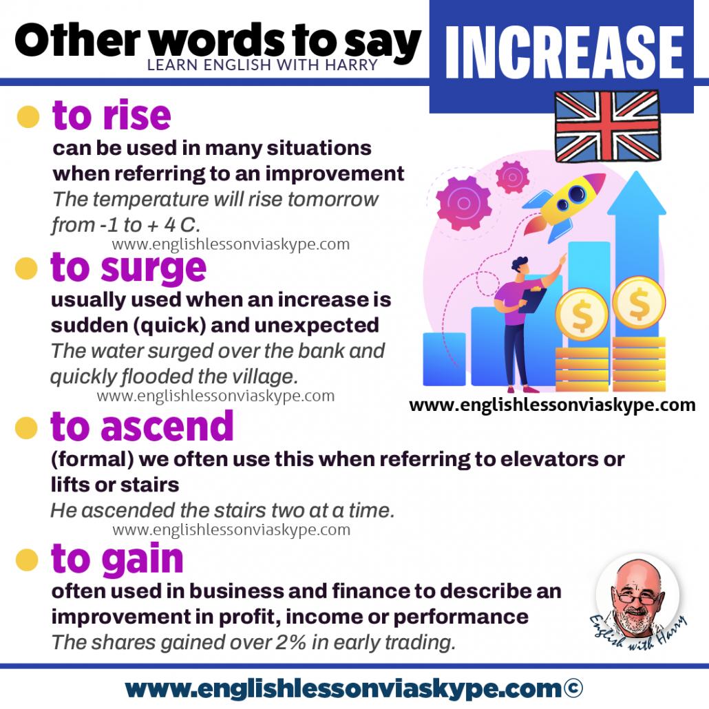 5 Ways to say to increase in English. Improve English vocabulary. www.englishlessonviaskype.com #learnenglish #englishlessons #английский #angielski #nauka #ingles #Idiomas #idioms #English #englishteacher #ielts #toefl #vocabulary #ingilizce #inglese