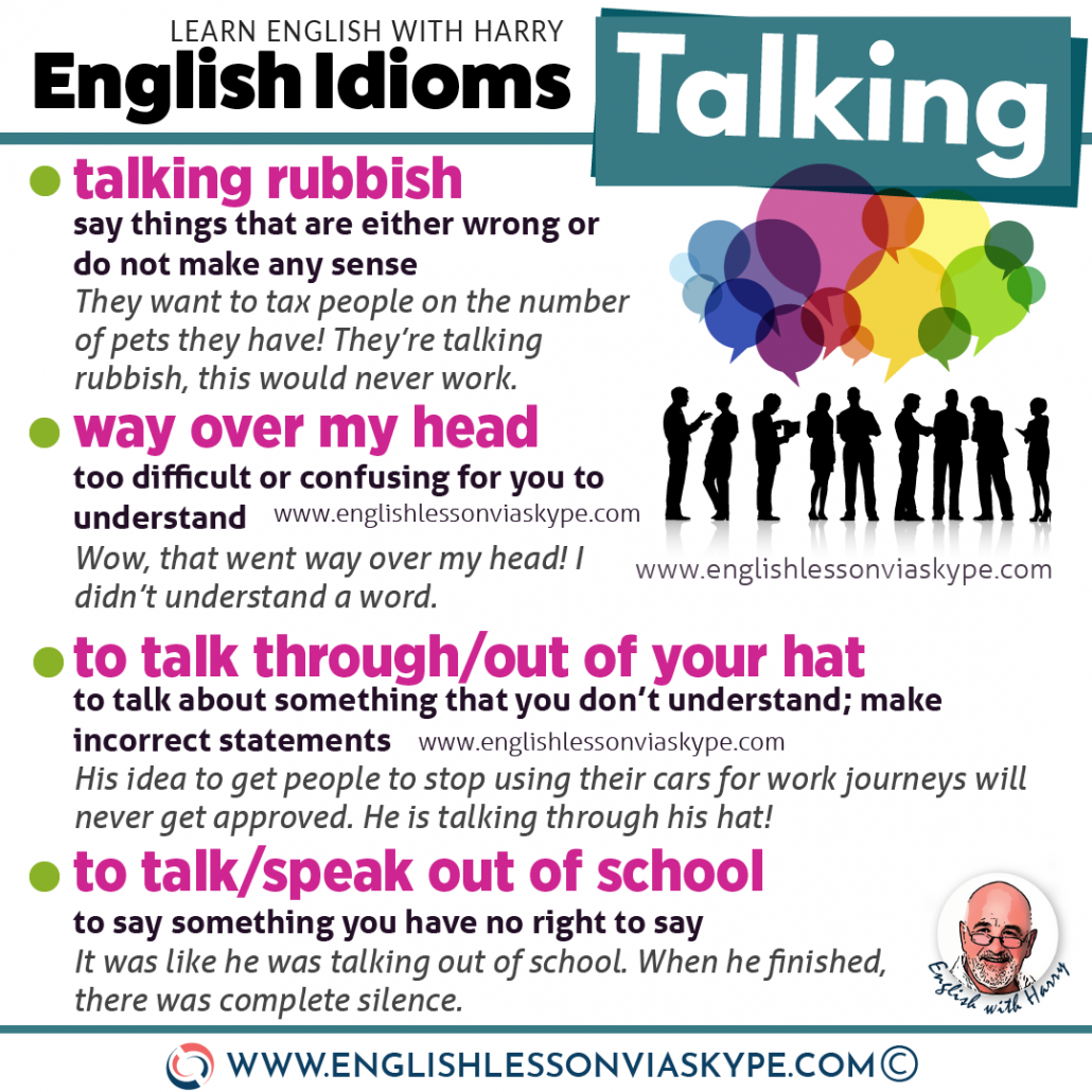 English expressions and idioms about talking. Study advanced English. Online English lessons on Zoom and Skype.