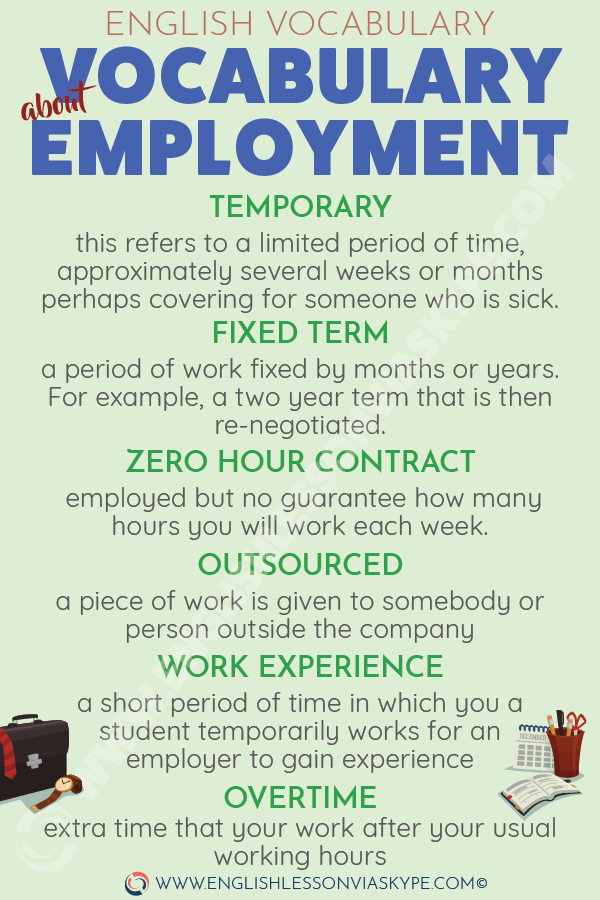 Useful English vocabulary about employment. How to talk about your contract of employment in English? Intermediate level English. #learnenglish #englishlessons #englishteacher #aprenderingles #ingles #vocabulary