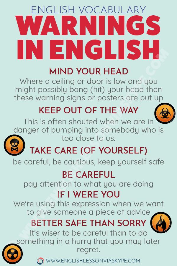 How to warn someone in English? Intermediate level English lessons. Warnings in English. #learnenglish #englishlessons #englishteacher #ingles #aprenderingles #vocabulary