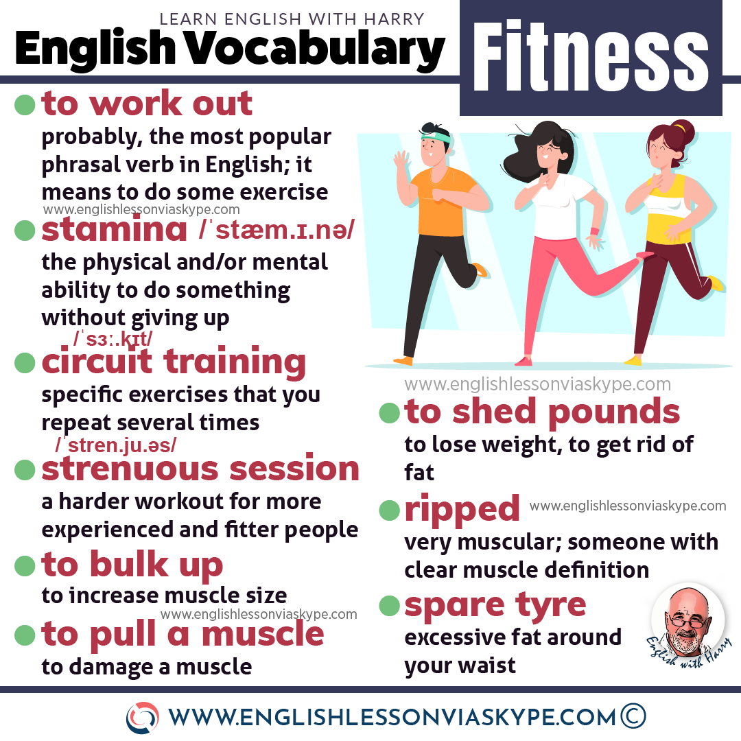 English Fitness Vocabulary Words and Phrases. How to talk about fitness in English. Intermediate level English vocabulary words and phrases. #learnenglish #englishlessons #englishteacher #ingles #aprenderingles #englishlanguage #vocabulary