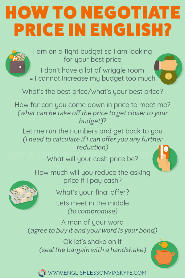 How to Negotiate Price in English. Useful English Phrases to help you negotiate price in English. #learnenglish #englishvocabulary #englishlesson #englishteacher #ingles #aprenderingles