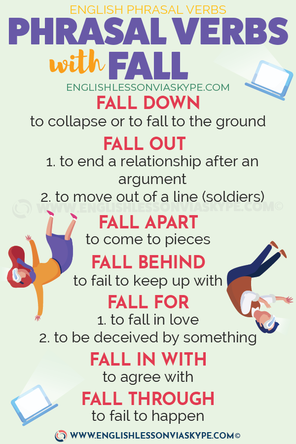 FALL: 14 Phrasal Verbs with Fall with meanings and examples. englishlessonviaskype.com #learnenglish #learnenglish #englishlessons #английский #angielski #nauka #ingles #Idiomas #idioms #English #englishteacher #ielts #toefl #vocabulary #ingilizce #inglese