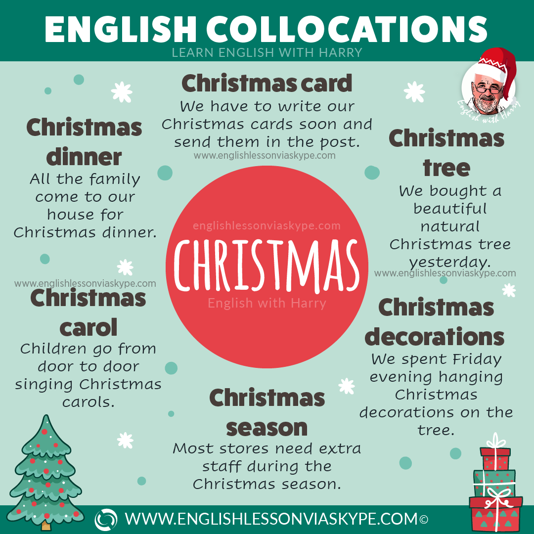 English collocations with Christmas. Phrases connected with Christmas. Improve English with Harry at www.englishlessonviaskype.com #learnenglish #englishlessons #tienganh #EnglishTeacher #vocabulary #ingles #อังกฤษ #английский #aprenderingles #english #cursodeingles #учианглийский #vocabulário #dicasdeingles #learningenglish #ingilizce #englishgrammar #englishvocabulary #ielts #idiomas