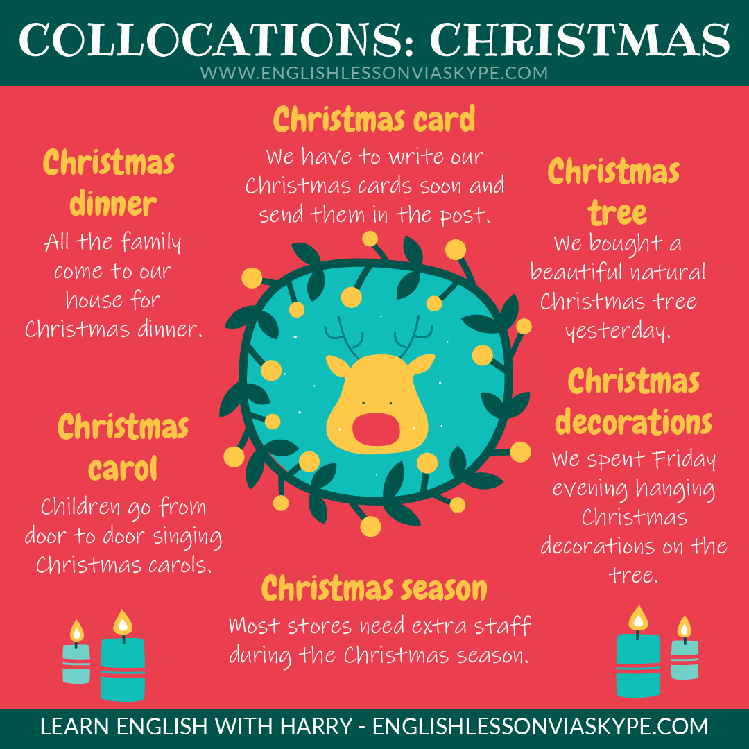 English collocations with Christmas. Phrases connected with Christmas. Improve English with Harry at www.englishlessonviaskype.com #learnenglish #englishlessons #tienganh #EnglishTeacher #vocabulary #ingles #อังกฤษ #английский #aprenderingles #english #cursodeingles #учианглийский #vocabulário #dicasdeingles #learningenglish #ingilizce #englishgrammar #englishvocabulary #ielts #idiomas