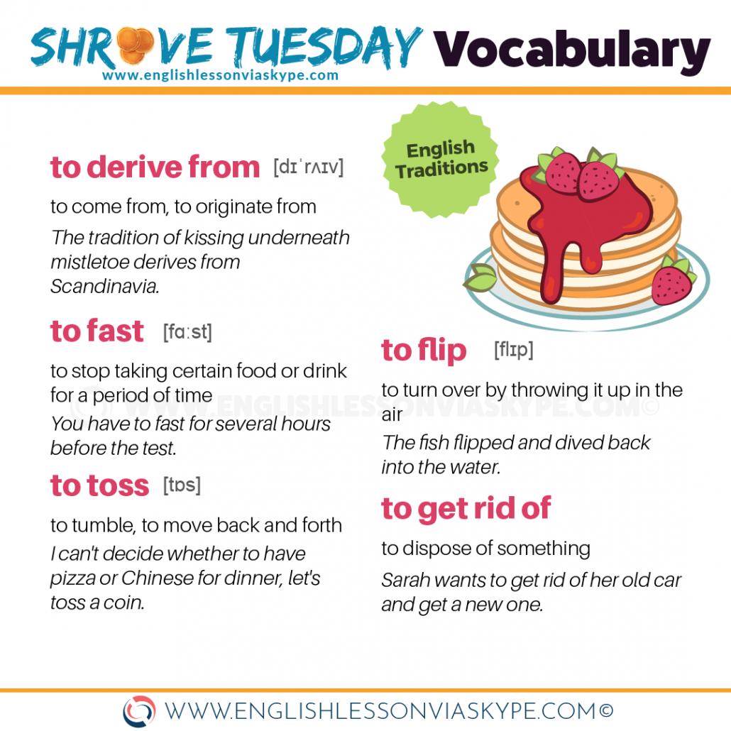 Advanced English vocabulary related to Pancake Tuesday #learnenglish