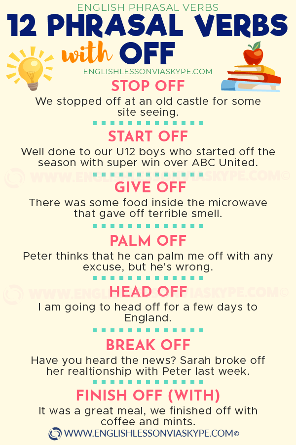 12 Phrasal Verbs with Off with meanings and examples. Cry off, palm off, stop off, head off meaning www.englishlessonviaskype.com #learnenglish #englishlessons #tienganh #EnglishTeacher #vocabulary #ingles #อังกฤษ #английский #aprenderingles #english #cursodeingles #учианглийский #vocabulário #dicasdeingles #learningenglish #ingilizce #englishgrammar #englishvocabulary #ielts #idiomas