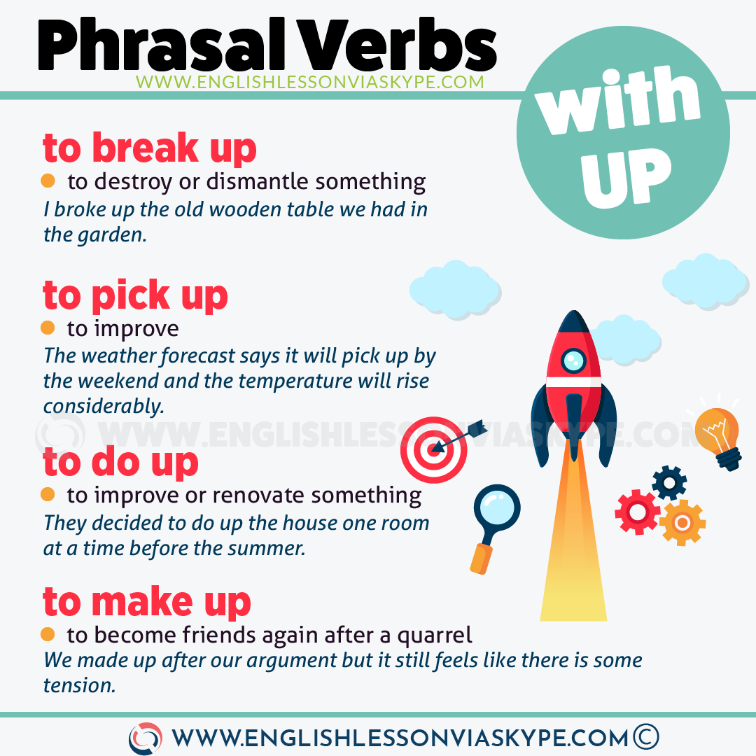 Phrasal Verbs with UP with meanings and examples. Learn English at www.englishlessonviaskype.com #learnenglish #englishlessons #tienganh #EnglishTeacher #vocabulary #ingles #อังกฤษ #английский #aprenderingles #english #cursodeingles #учианглийский #vocabulário #dicasdeingles #learningenglish #ingilizce #englishgrammar #englishvocabulary #ielts #idiomas