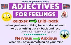 Common English adjectives to describe feelings. Improve your English vocabulary. Online English lessons on Skype and Zoom at www.englishlessonviaskype.com #learnenglish #englishlessons #EnglishTeacher #vocabulary