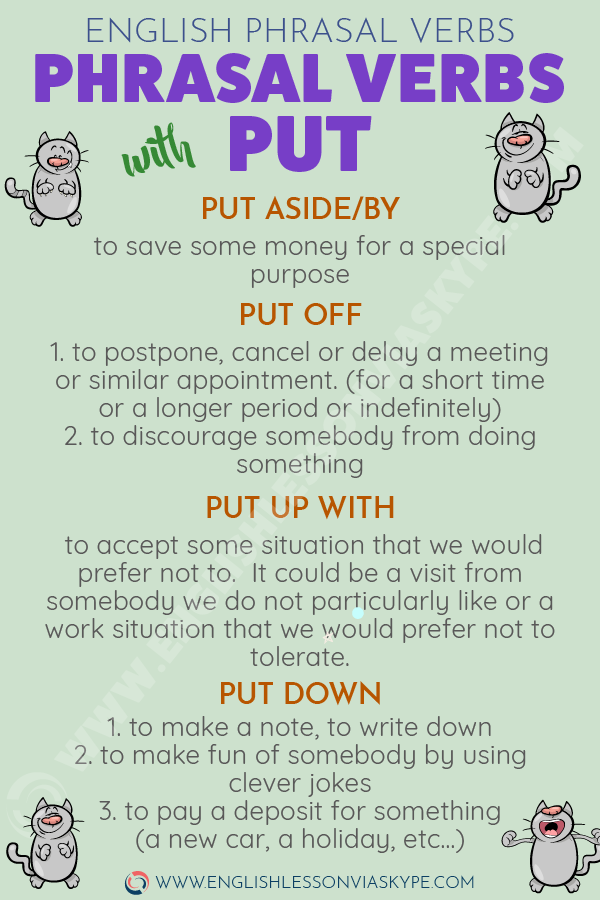 Phrasal Verbs with PUT with meanings and examples. Intermediate level English. www.englishlessonviaskype.com #learnenglish #englishlessons #tienganh #EnglishTeacher #vocabulary #ingles #อังกฤษ #английский #aprenderingles #english #cursodeingles #учианглийский #vocabulário #dicasdeingles #learningenglish #ingilizce #englishgrammar #englishvocabulary #ielts #idiomas