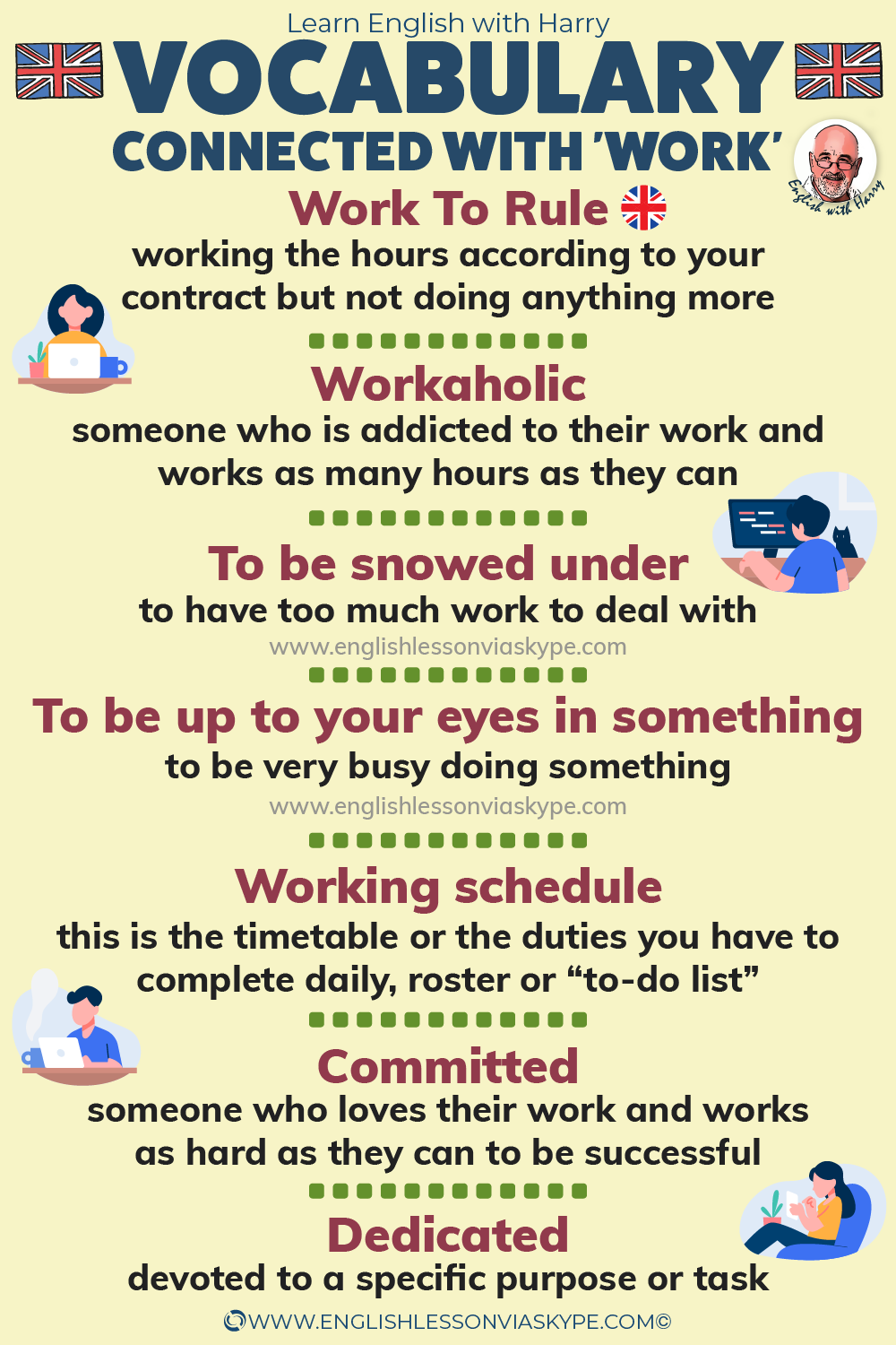 Advanced English words and expressions connected with work. Advanced English learning at www.englishlessonviaskype.com #learnenglish #englishlessons #EnglishTeacher #vocabulary #ingles #อังกฤษ #английский #aprenderingles #english #cursodeingles #учианглийский #vocabulário #dicasdeingles #learningenglish #ingilizce #englishgrammar #englishvocabulary #ielts #idiomas
