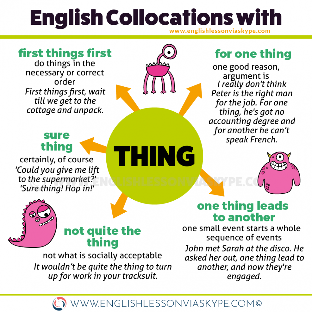 English collocations with THING. Thing of the past, First things first meaning. www.englishlessonviaskype.com #learnenglish #englishlessons #englishteacher #aprenderingles #ingles #vocabulary #ielts #esl #toefl